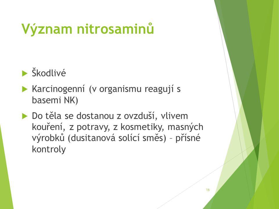 Význam nitrosaminů  Škodlivé  Karcinogenní (v organismu reagují s basemi NK)  Do těla se dostanou z ovzduší, vlivem kouření, z potravy, z kosmetiky