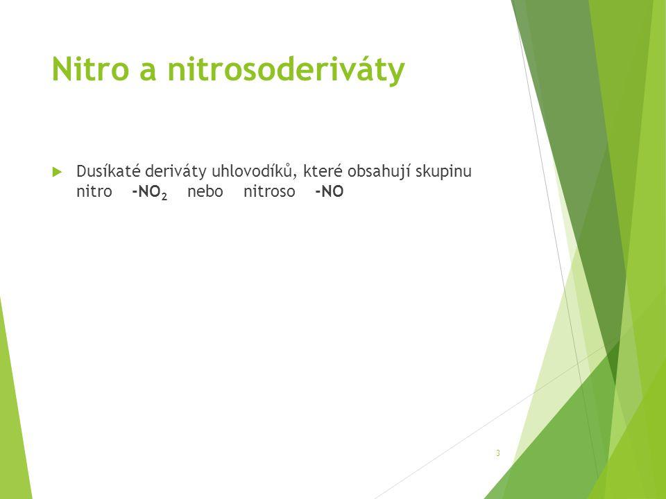 Nitro a nitrosoderiváty  Dusíkaté deriváty uhlovodíků, které obsahují skupinu nitro -NO 2 nebo nitroso -NO 3