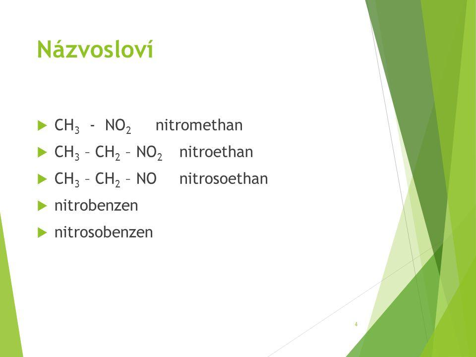 Názvosloví  CH 3 - NO 2 nitromethan  CH 3 – CH 2 – NO 2 nitroethan  CH 3 – CH 2 – NOnitrosoethan  nitrobenzen  nitrosobenzen 4