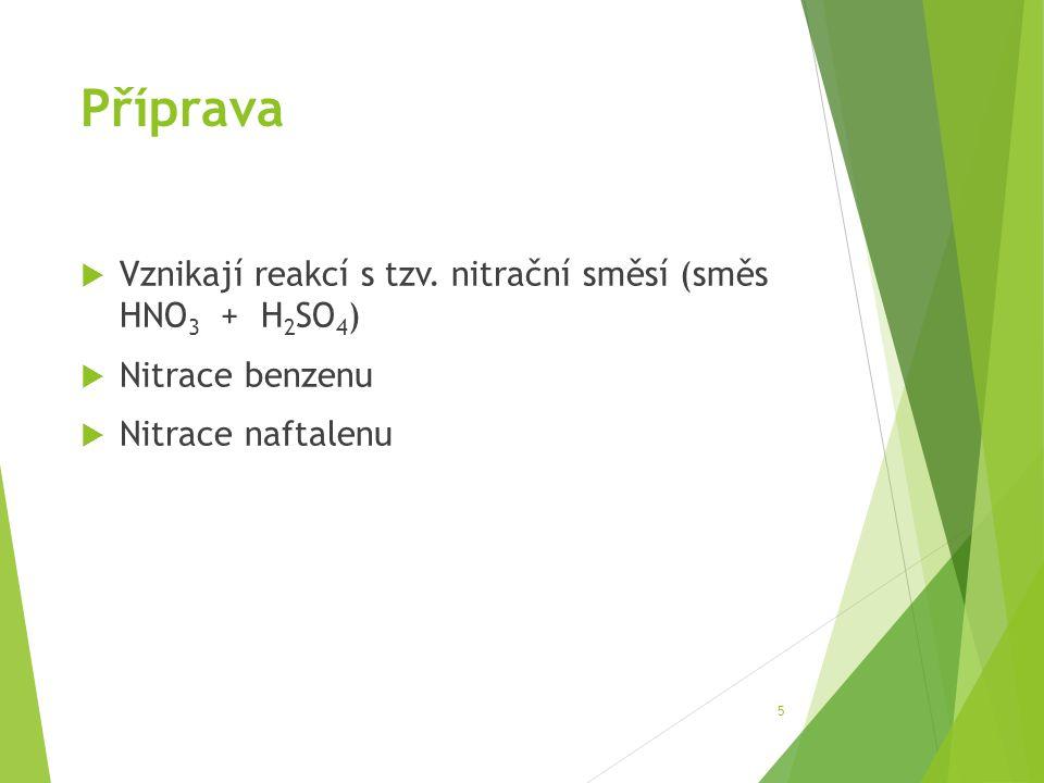 Příprava  Vznikají reakcí s tzv. nitrační směsí (směs HNO 3 + H 2 SO 4 )  Nitrace benzenu  Nitrace naftalenu 5