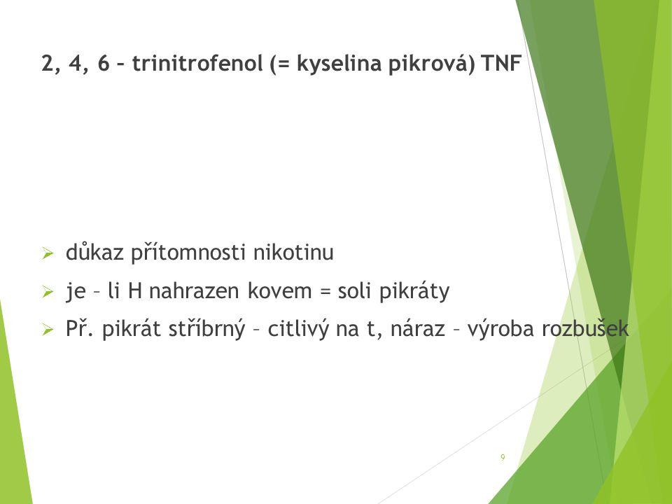 2, 4, 6 – trinitrofenol (= kyselina pikrová) TNF  důkaz přítomnosti nikotinu  je – li H nahrazen kovem = soli pikráty  Př. pikrát stříbrný – citliv
