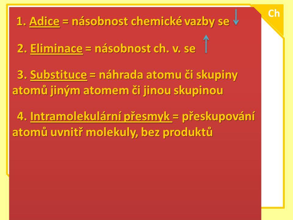 \ 1. Adice = násobnost chemické vazby se 1. Adice = násobnost chemické vazby se 2. Eliminace = násobnost ch. v. se 2. Eliminace = násobnost ch. v. se