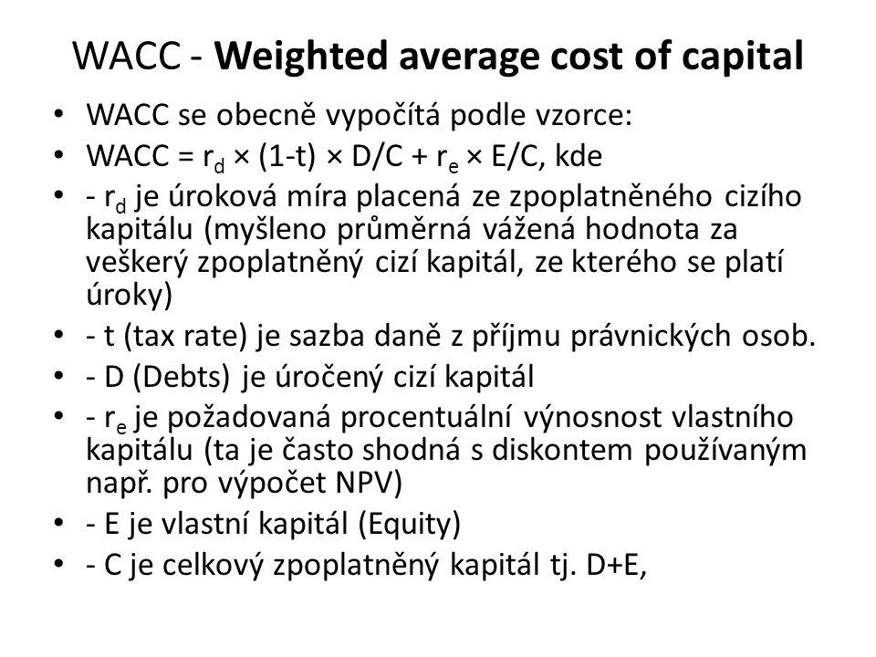 WACC - Weighted average cost of capital WACC se obecně vypočítá podle vzorce: WACC = r d × (1-t) × D/C + r e × E/C, kde - r d je úroková míra placená