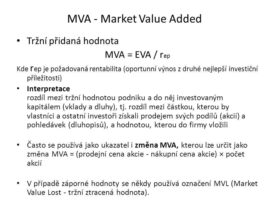 MVA - Market Value Added Tržní přidaná hodnota MVA = EVA / r ep Kde r ep je požadovaná rentabilita (oportunní výnos z druhé nejlepší investiční přílež