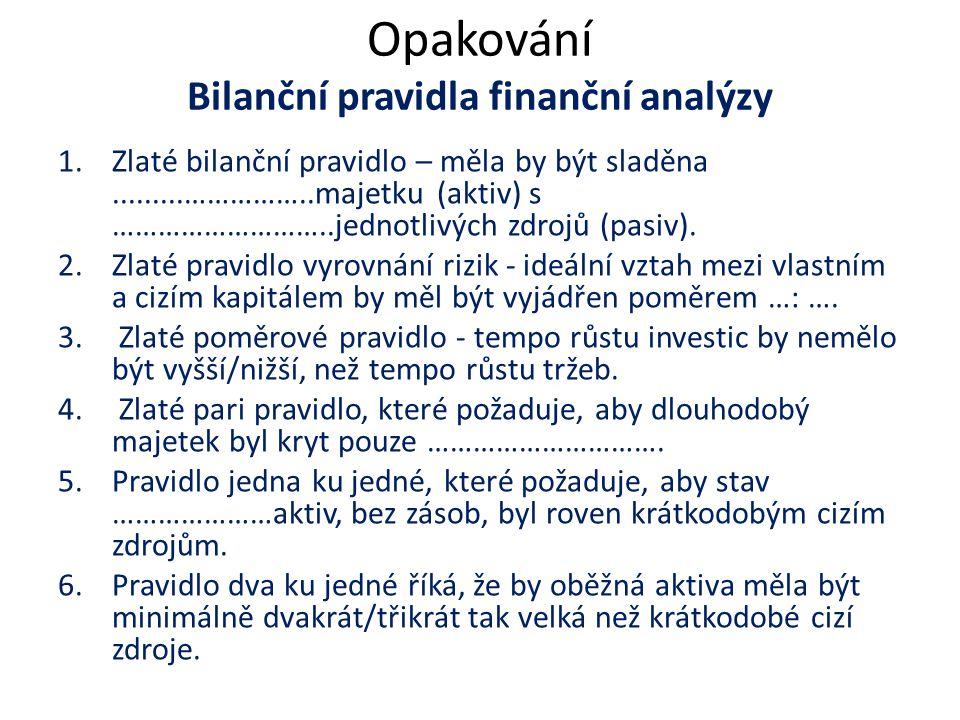 Opakování Bilanční pravidla finanční analýzy 1.Zlaté bilanční pravidlo – měla by být sladěna.........……………..majetku (aktiv) s ………………………..jednotlivých