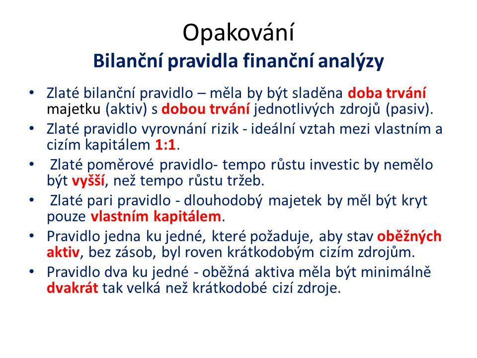 Opakování Bilanční pravidla finanční analýzy Zlaté bilanční pravidlo – měla by být sladěna doba trvání majetku (aktiv) s dobou trvání jednotlivých zdr
