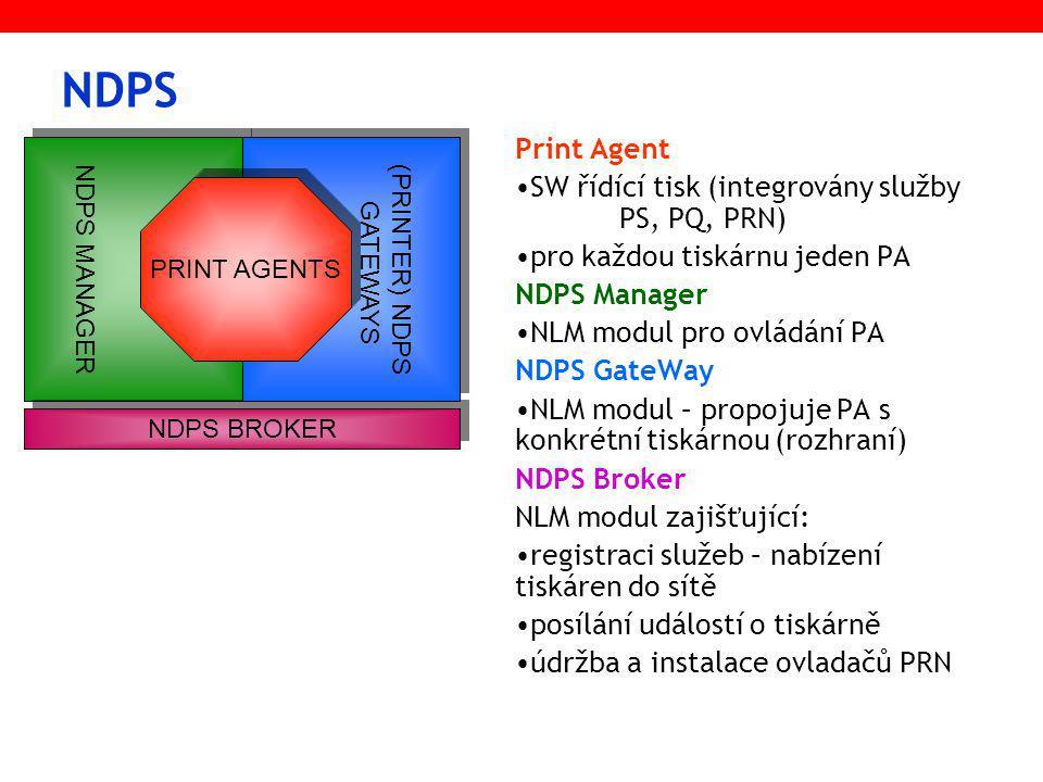 NDPS Print Agent SW řídící tisk (integrovány služby PS, PQ, PRN) pro každou tiskárnu jeden PA NDPS Manager NLM modul pro ovládání PA NDPS GateWay NLM modul – propojuje PA s konkrétní tiskárnou (rozhraní) NDPS Broker NLM modul zajišťující: registraci služeb – nabízení tiskáren do sítě posílání událostí o tiskárně údržba a instalace ovladačů PRN NDPS MANAGER NDPS BROKER (PRINTER) NDPS GATEWAYS PRINT AGENTS