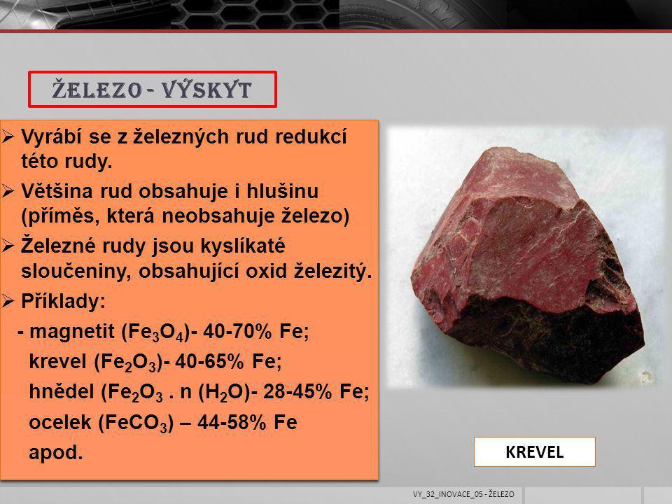  Vyrábí se z železných rud redukcí této rudy.  Většina rud obsahuje i hlušinu (příměs, která neobsahuje železo)  Železné rudy jsou kyslíkaté slouče