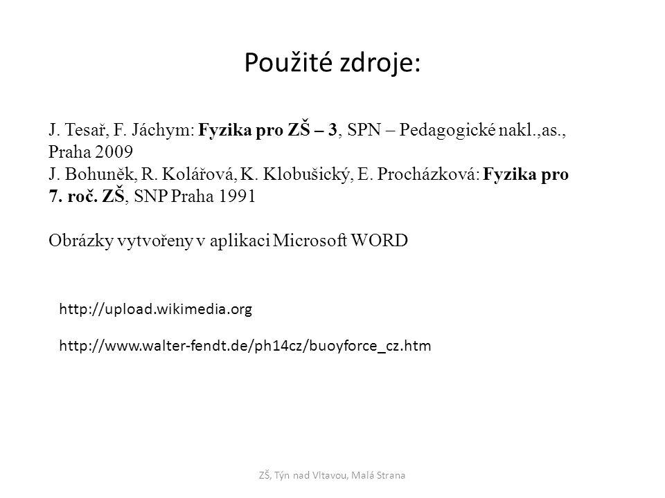 Použité zdroje: J. Tesař, F. Jáchym: Fyzika pro ZŠ – 3, SPN – Pedagogické nakl.,as., Praha 2009 J. Bohuněk, R. Kolářová, K. Klobušický, E. Procházková