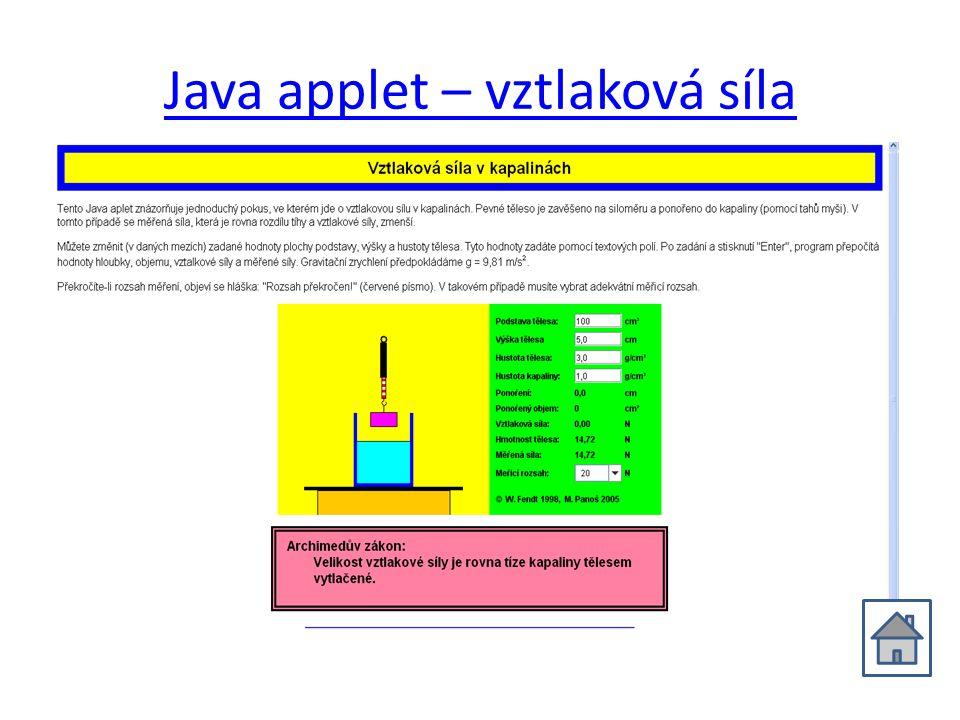 Java applet – vztlaková síla