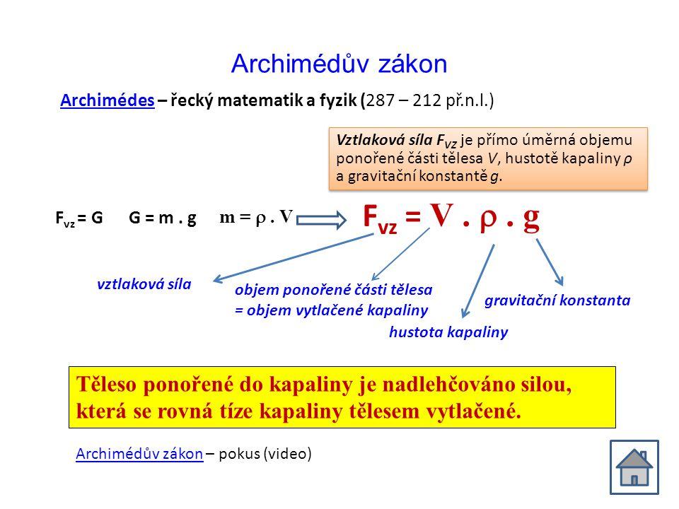 Archimédův zákon F vz = G G = m. g m = . V F vz = V. . g vztlaková síla hustota kapaliny objem ponořené části tělesa = objem vytlačené kapaliny grav