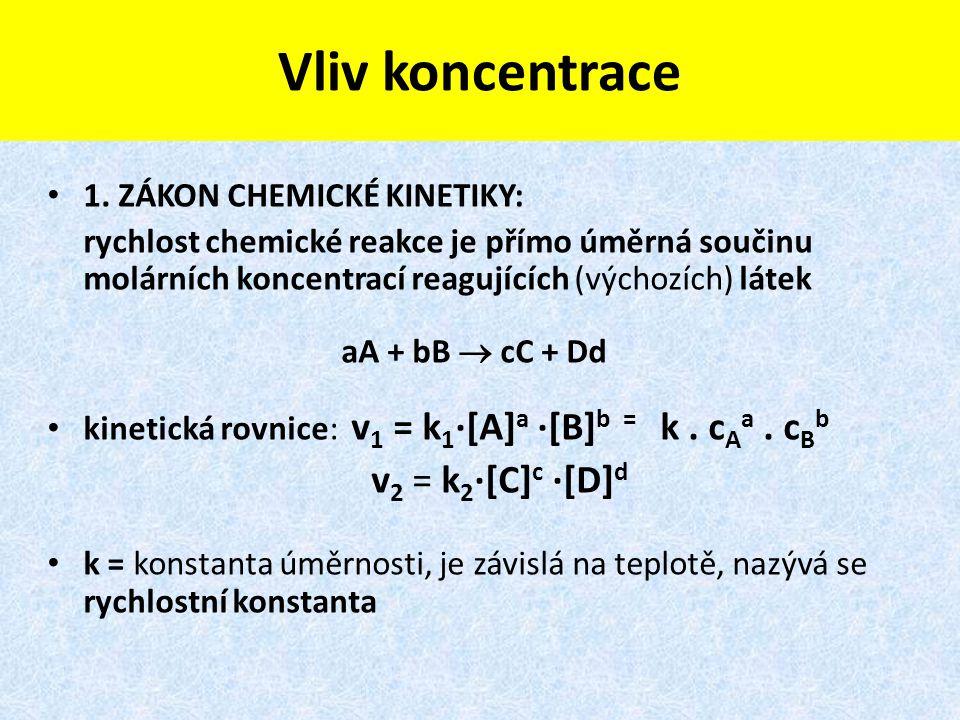 Vliv koncentrace 1. ZÁKON CHEMICKÉ KINETIKY: rychlost chemické reakce je přímo úměrná součinu molárních koncentrací reagujících (výchozích) látek aA +