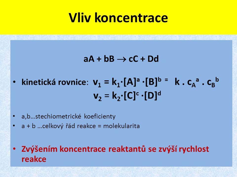 Vliv koncentrace aA + bB  cC + Dd kinetická rovnice: v 1 = k 1 ·[A] a ·[B] b = k. c A a. c B b v 2 = k 2 ·[C] c ·[D] d a,b…stechiometrické koeficient
