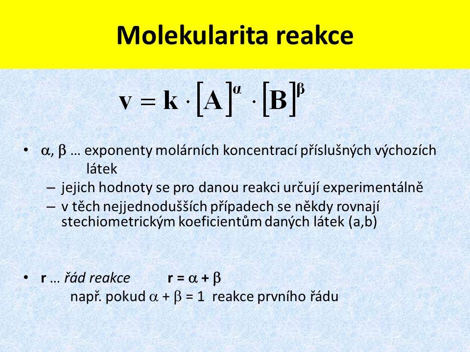Molekularita reakce ,  … exponenty molárních koncentrací příslušných výchozích látek – jejich hodnoty se pro danou reakci určují experimentálně – v