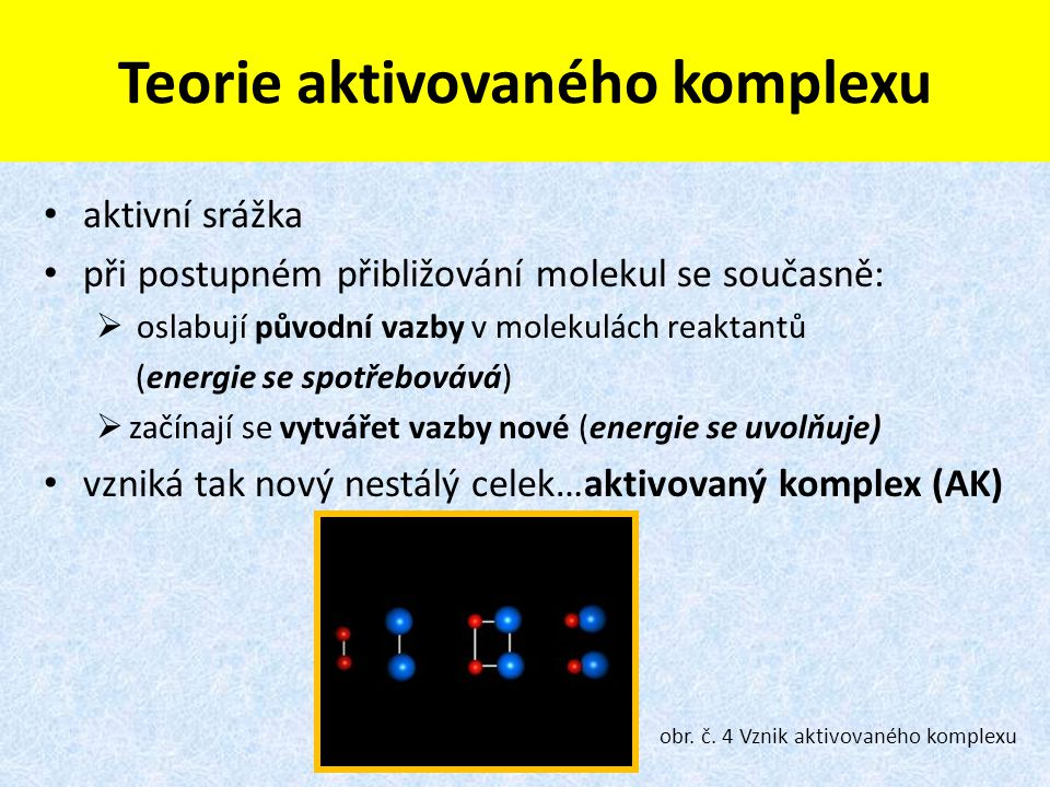 Teorie aktivovaného komplexu aktivní srážka při postupném přibližování molekul se současně:  oslabují původní vazby v molekulách reaktantů (energie s