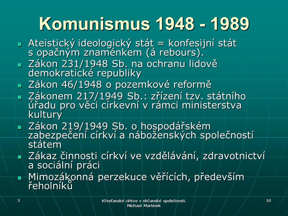 3 Křesťanské církve v občanské společnosti. Michael Martinek 10 Komunismus 1948 - 1989 Ateistický ideologický stát = konfesijní stát s opačným znaménk