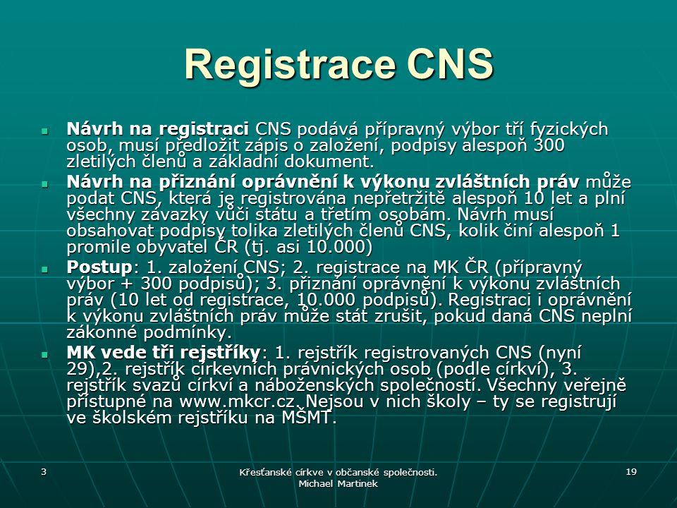 3 Křesťanské církve v občanské společnosti. Michael Martinek 19 Registrace CNS Návrh na registraci CNS podává přípravný výbor tří fyzických osob, musí