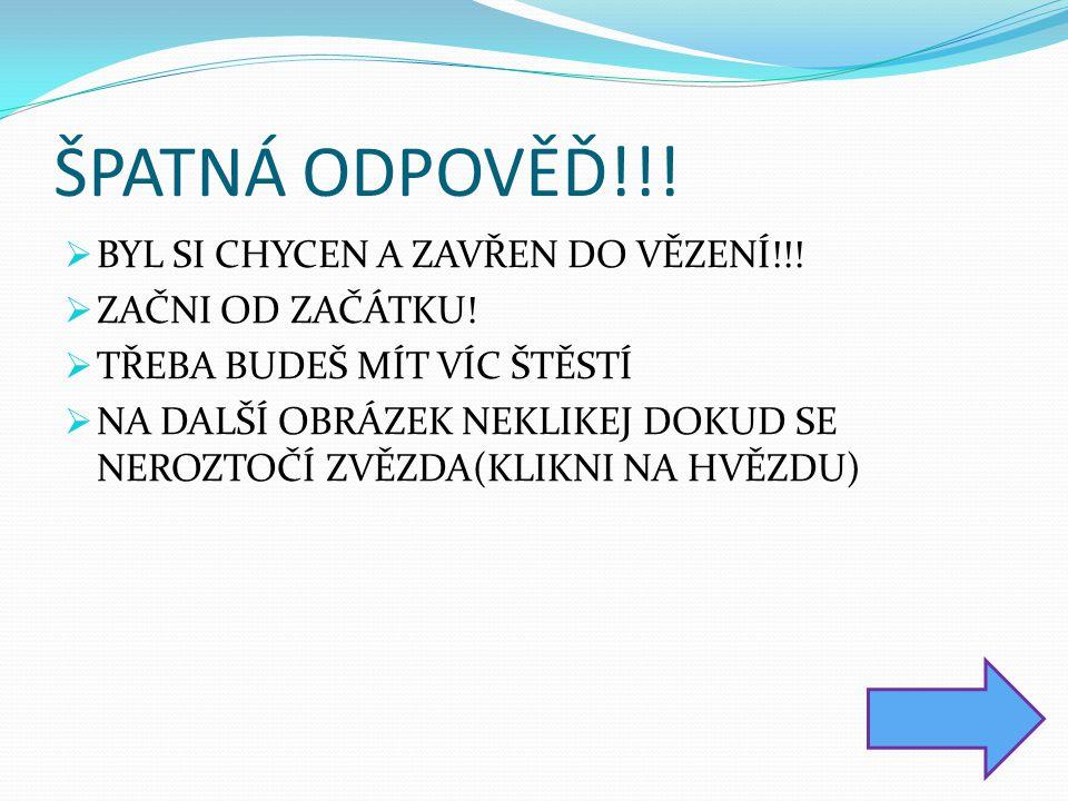 ŠPATNÁ ODPOVĚĎ!!.  BYL SI CHYCEN A ZAVŘEN DO VĚZENÍ!!.
