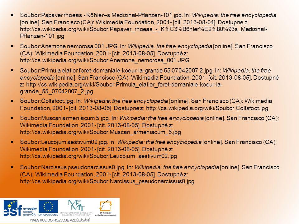  Soubor:Papaver rhoeas - Köhler–s Medizinal-Pflanzen-101.jpg. In: Wikipedia: the free encyclopedia [online]. San Francisco (CA): Wikimedia Foundation