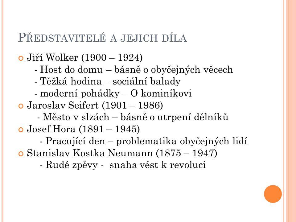 P ŘEDSTAVITELÉ A JEJICH DÍLA Jiří Wolker (1900 – 1924) - Host do domu – básně o obyčejných věcech - Těžká hodina – sociální balady - moderní pohádky –