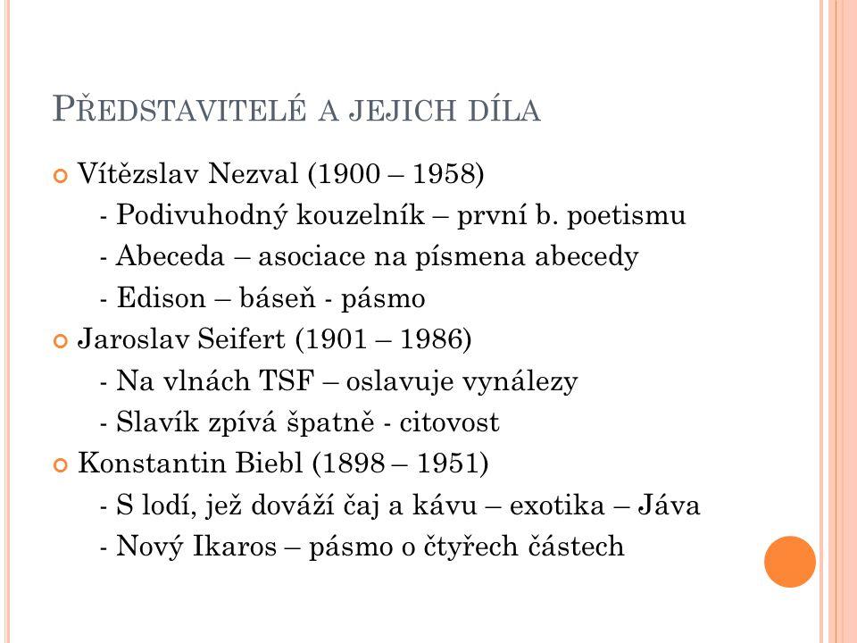 P ŘEDSTAVITELÉ A JEJICH DÍLA Vítězslav Nezval (1900 – 1958) - Podivuhodný kouzelník – první b. poetismu - Abeceda – asociace na písmena abecedy - Edis