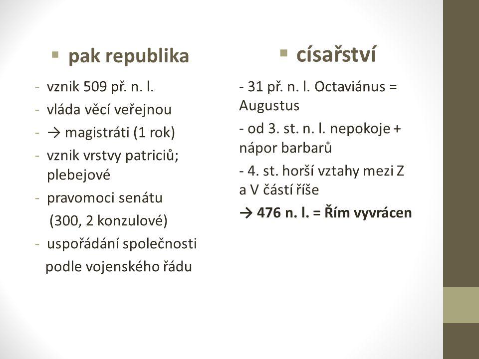 pak republika -vznik 509 př. n. l. -vláda věcí veřejnou -→ magistráti (1 rok) -vznik vrstvy patriciů; plebejové -pravomoci senátu (300, 2 konzulové)