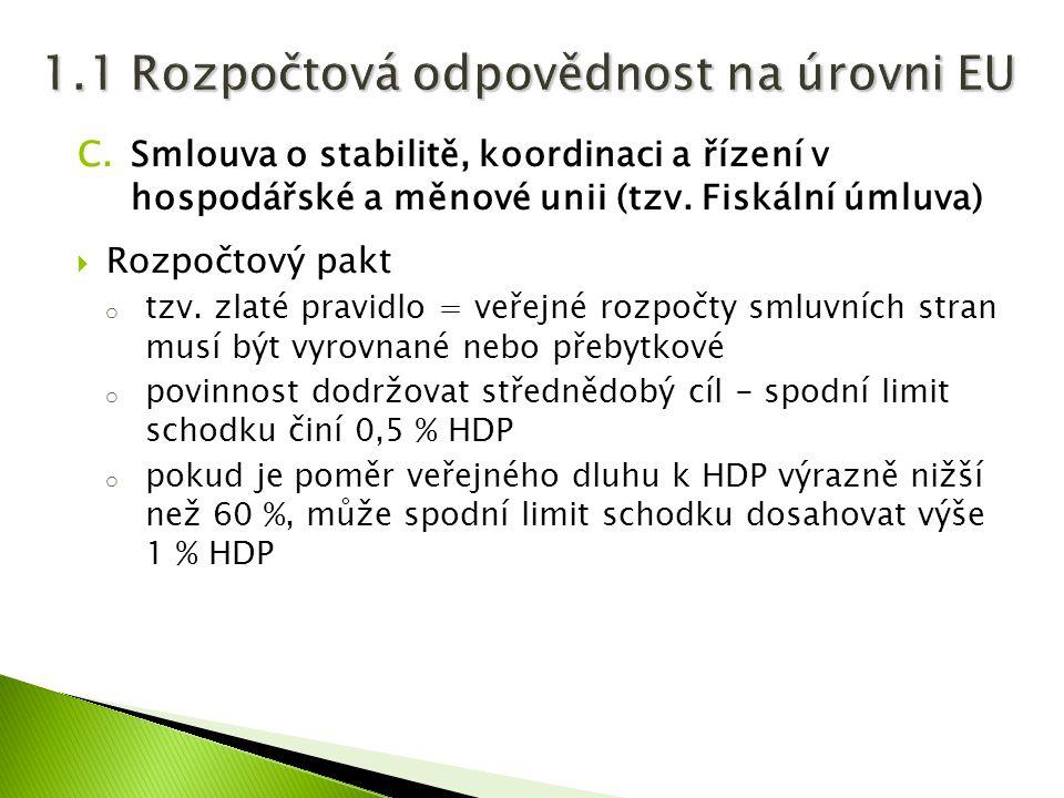C.Smlouva o stabilitě, koordinaci a řízení v hospodářské a měnové unii (tzv. Fiskální úmluva)  Rozpočtový pakt o tzv. zlaté pravidlo = veřejné rozpoč