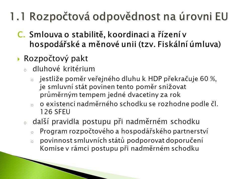 C.Smlouva o stabilitě, koordinaci a řízení v hospodářské a měnové unii (tzv. Fiskální úmluva)  Rozpočtový pakt o dluhové kritérium o jestliže poměr v