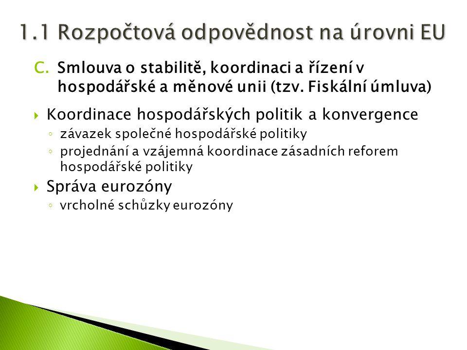 C.Smlouva o stabilitě, koordinaci a řízení v hospodářské a měnové unii (tzv. Fiskální úmluva)  Koordinace hospodářských politik a konvergence ◦ závaz