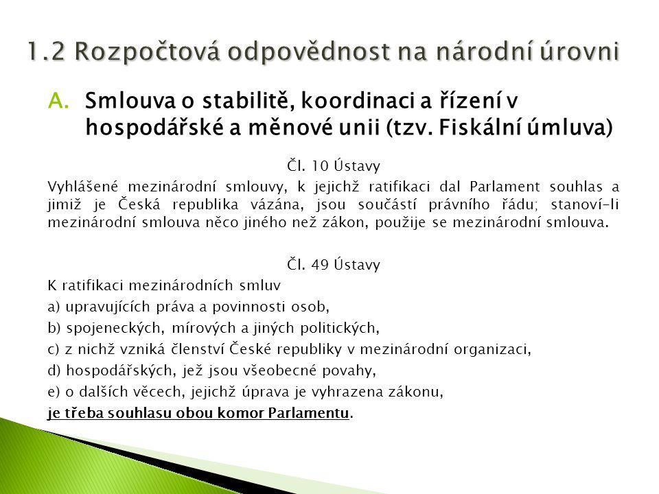 A.Smlouva o stabilitě, koordinaci a řízení v hospodářské a měnové unii (tzv. Fiskální úmluva) Čl. 10 Ústavy Vyhlášené mezinárodní smlouvy, k jejichž r