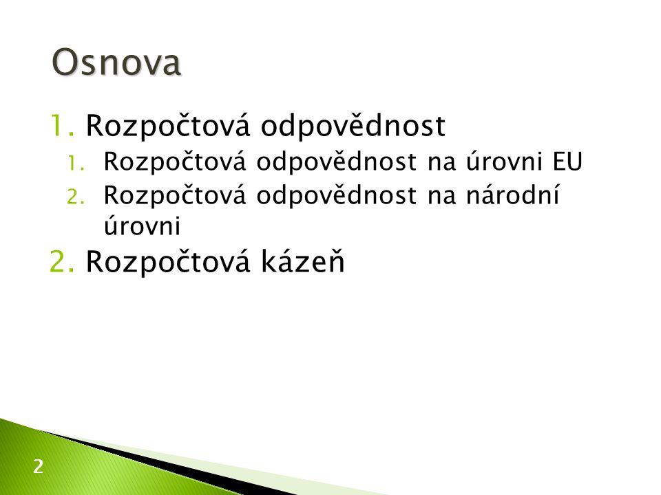 1.Rozpočtová odpovědnost 1. Rozpočtová odpovědnost na úrovni EU 2. Rozpočtová odpovědnost na národní úrovni 2.Rozpočtová kázeň 2 Osnova