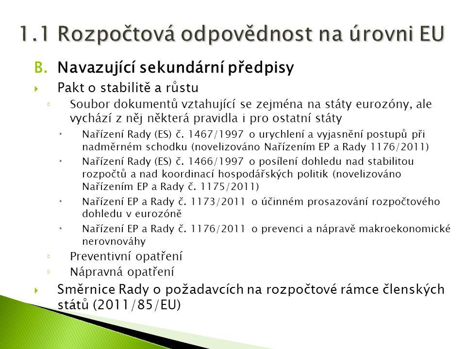 B.Navazující sekundární předpisy  Pakt o stabilitě a růstu ◦ Soubor dokumentů vztahující se zejména na státy eurozóny, ale vychází z něj některá pravidla i pro ostatní státy  Nařízení Rady (ES) č.