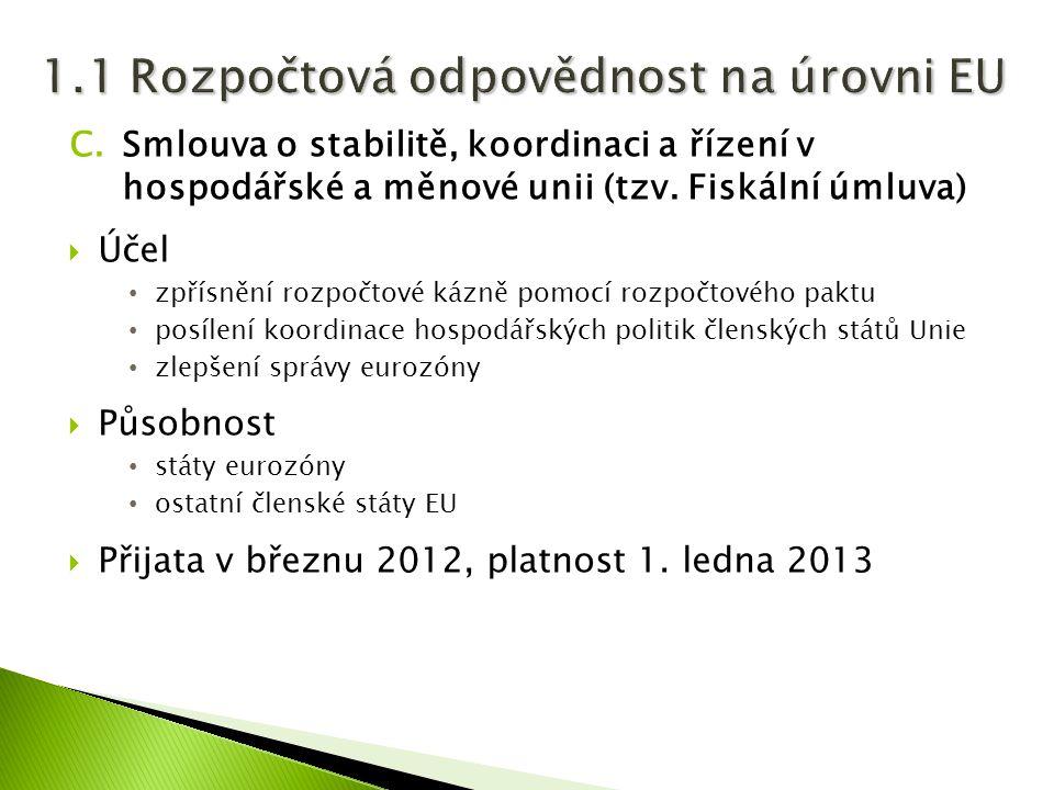 C.Smlouva o stabilitě, koordinaci a řízení v hospodářské a měnové unii (tzv. Fiskální úmluva)  Účel zpřísnění rozpočtové kázně pomocí rozpočtového pa