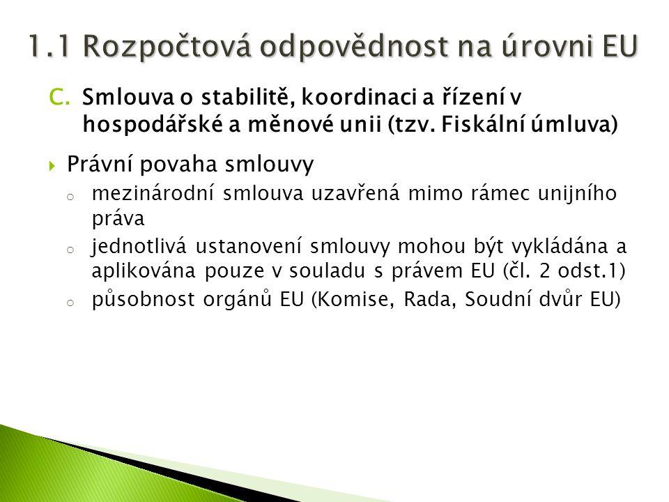 C.Smlouva o stabilitě, koordinaci a řízení v hospodářské a měnové unii (tzv. Fiskální úmluva)  Právní povaha smlouvy o mezinárodní smlouva uzavřená m