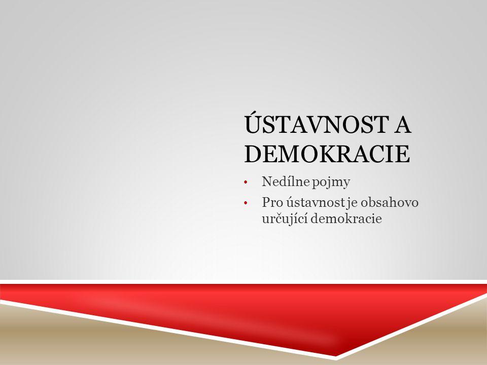 ÚSTAVNOST A DEMOKRACIE Nedílne pojmy Pro ústavnost je obsahovo určující demokracie