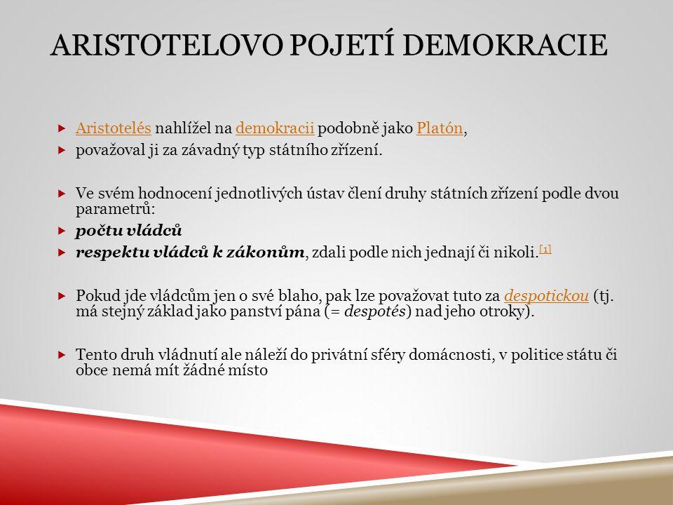  Aristotelés nahlížel na demokracii podobně jako Platón, AristotelésdemokraciiPlatón  považoval ji za závadný typ státního zřízení.  Ve svém hodnoc