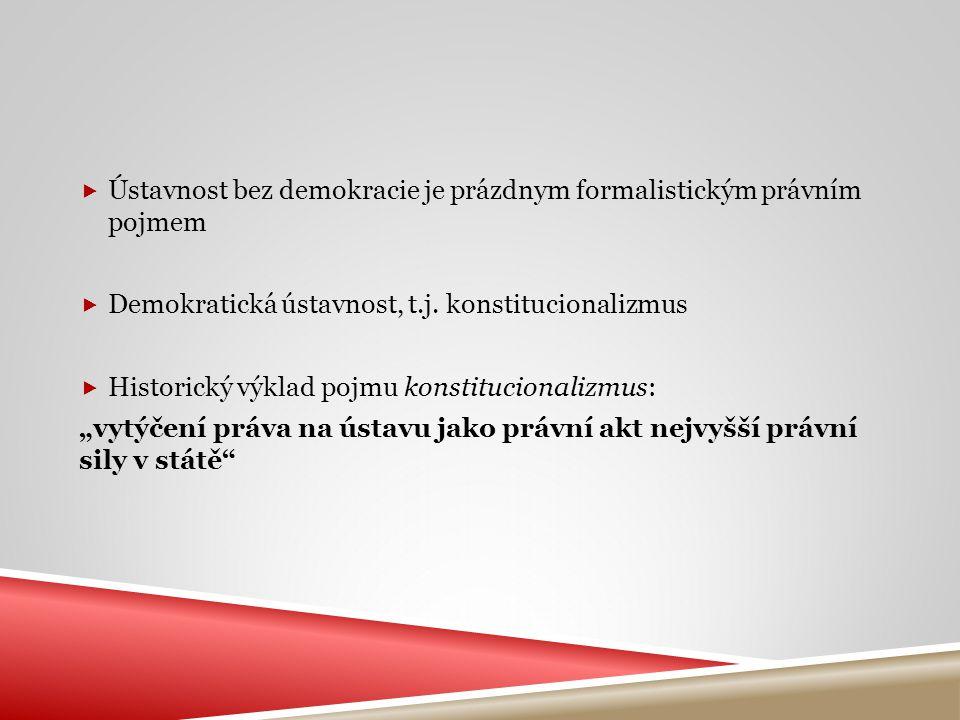  Ústavnost bez demokracie je prázdnym formalistickým právním pojmem  Demokratická ústavnost, t.j. konstitucionalizmus  Historický výklad pojmu kons