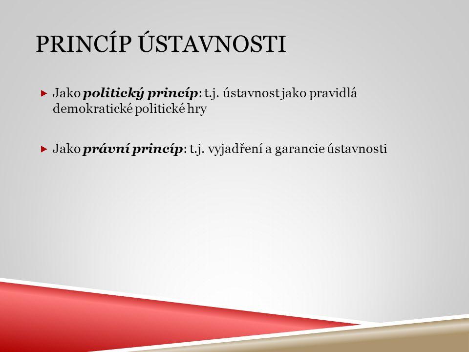 PRINCÍP ÚSTAVNOSTI  Jako politický princíp: t.j. ústavnost jako pravidlá demokratické politické hry  Jako právní princíp: t.j. vyjadření a garancie