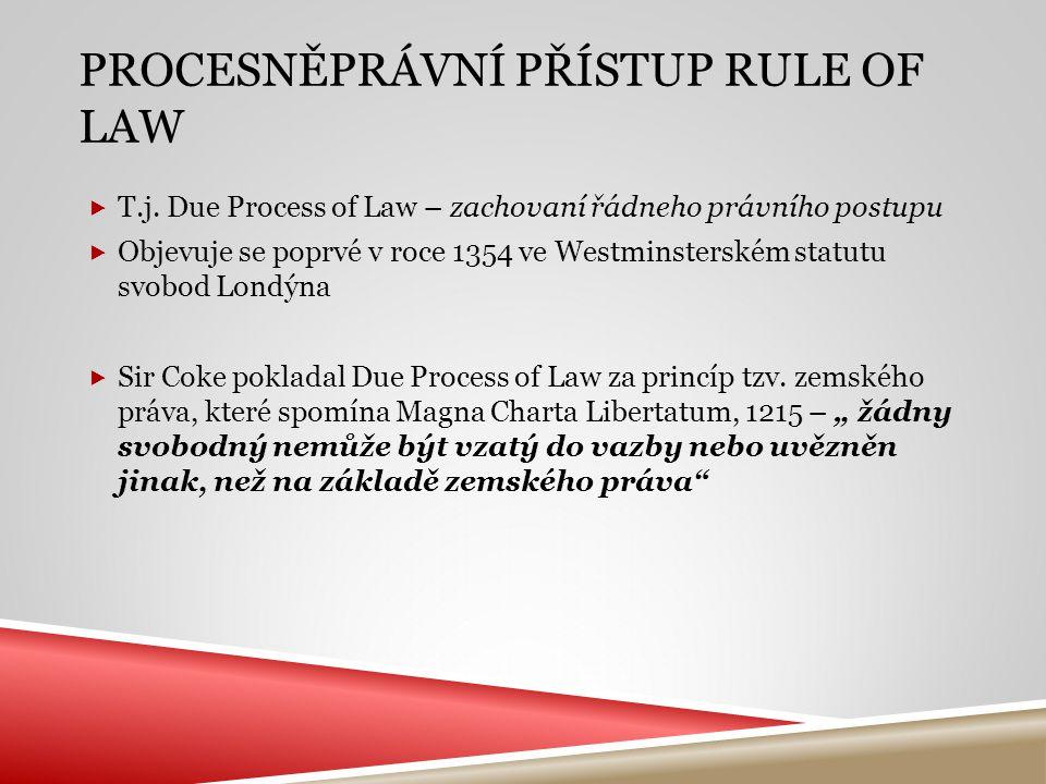 PROCESNĚPRÁVNÍ PŘÍSTUP RULE OF LAW  T.j. Due Process of Law – zachovaní řádneho právního postupu  Objevuje se poprvé v roce 1354 ve Westminsterském