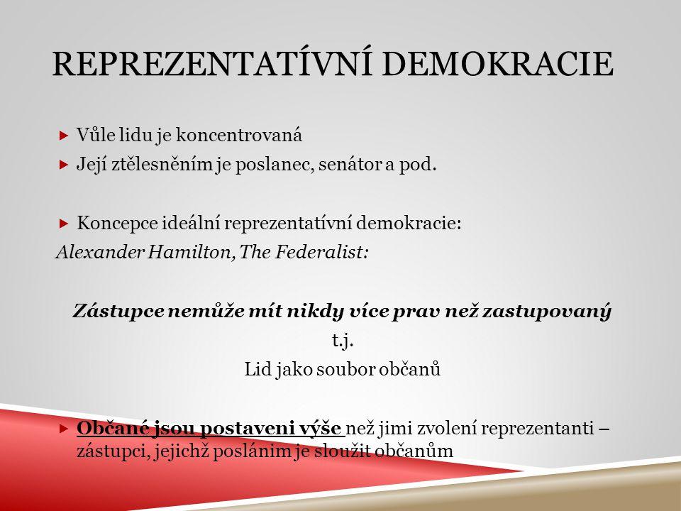 REPREZENTATÍVNÍ DEMOKRACIE  Vůle lidu je koncentrovaná  Její ztělesněním je poslanec, senátor a pod.  Koncepce ideální reprezentatívní demokracie: