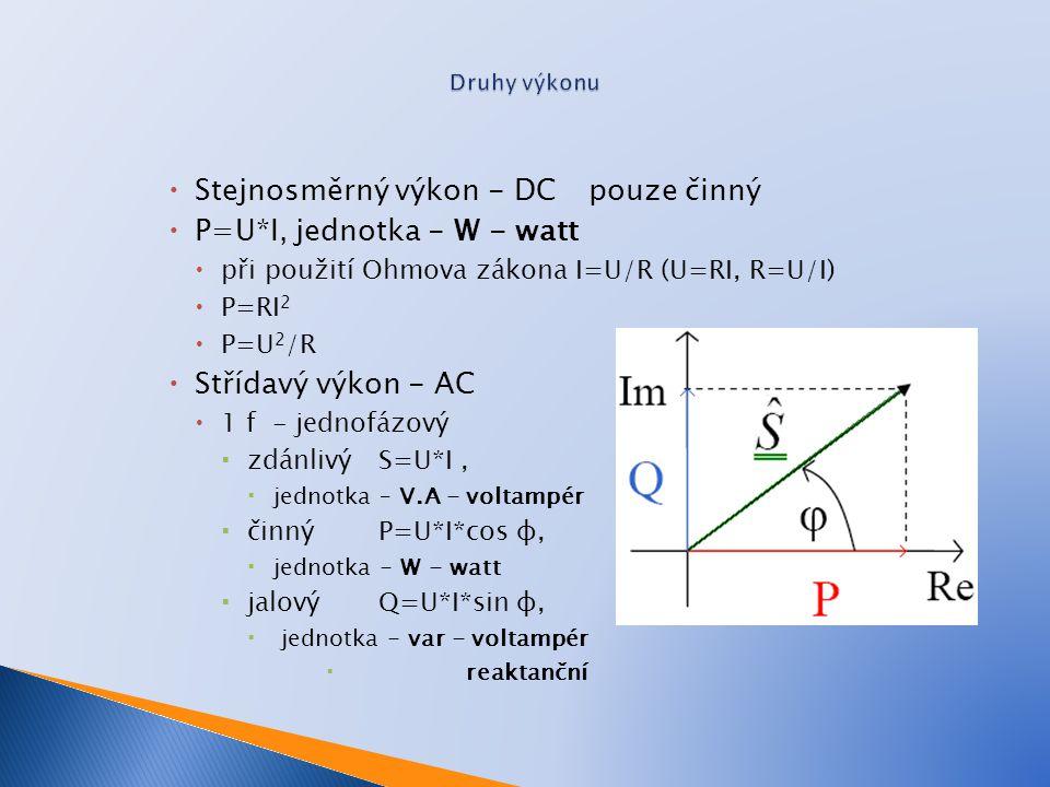 Stejnosměrný výkon - DCpouze činný  P=U*I, jednotka - W - watt  při použití Ohmova zákona I=U/R (U=RI, R=U/I)  P=RI 2  P=U 2 /R  Střídavý výkon - AC  1 f - jednofázový  zdánlivý S=U*I,  jednotka – V.A - voltampér  činný P=U*I*cos φ,  jednotka - W - watt  jalovýQ=U*I*sin φ,  jednotka - var - voltampér  reaktanční