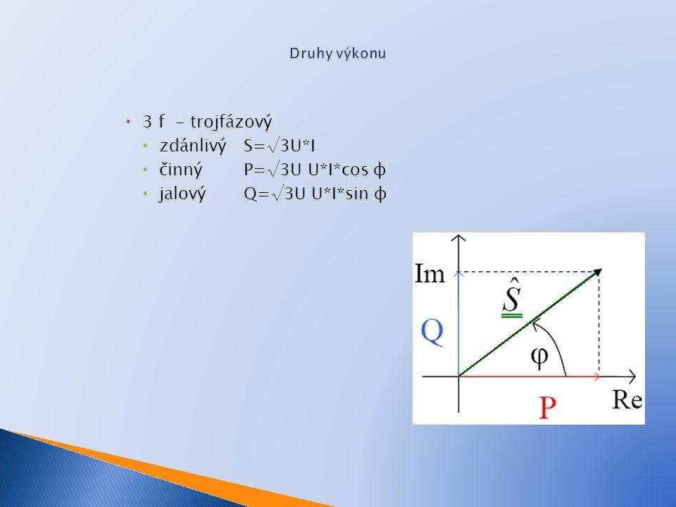  3 f - trojfázový  zdánlivý S=√3U*I  činný P=√3U U*I*cos φ  jalovýQ=√3U U*I*sin φ
