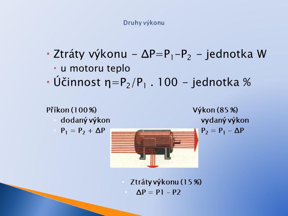  Ztráty výkonu - ΔP=P 1 -P 2 - jednotka W  u motoru teplo  Účinnost η=P 2 /P 1. 100 - jednotka % Příkon (100 %)Výkon (85 %)  dodaný výkonvydaný vý