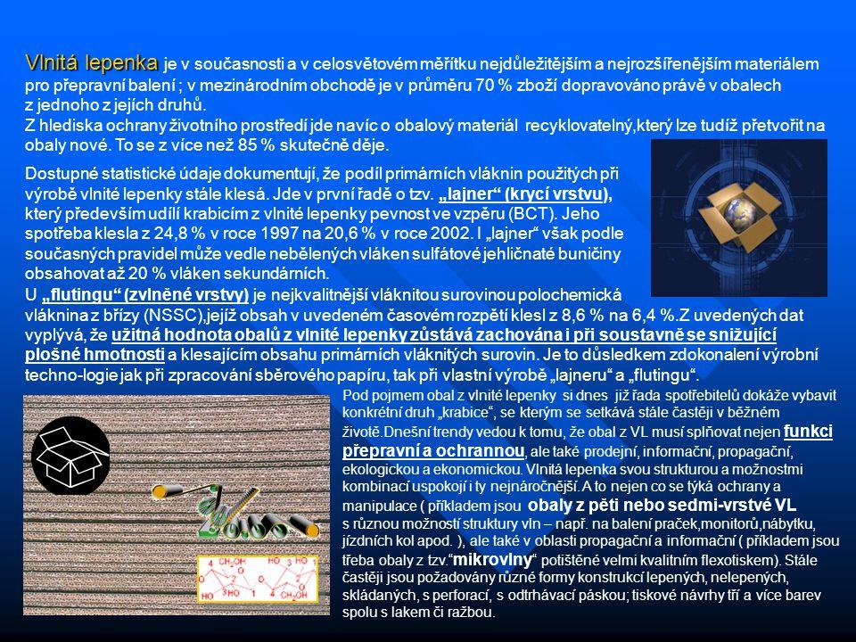 Vlnitá lepenka Vlnitá lepenka je v současnosti a v celosvětovém měřítku nejdůležitějším a nejrozšířenějším materiálem pro přepravní balení ; v mezinár