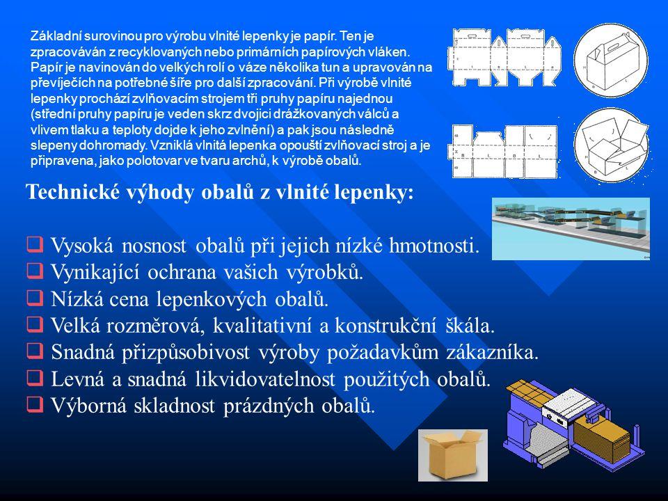dvouvrstvé lepenky třívrstvé lepenky pětivrstvé lepenky sedmivrstvé lepenky Základní druhy vlnitých lepenek Označení tloušťka VL Třívrstvá VL : A 5,3 mm C 4,3 mm B 3,0 mm E 2,0 mm Pětivrstvá VL : B/A 8,3 mm B/C 7,3 mm E/C 6,0 mm E/B 5,0 mm Sedmivrstvá VL : A/B/E 10,0 mm C/B/E 9,0 mm Barva : Barva : hnědá – mramor - bílá