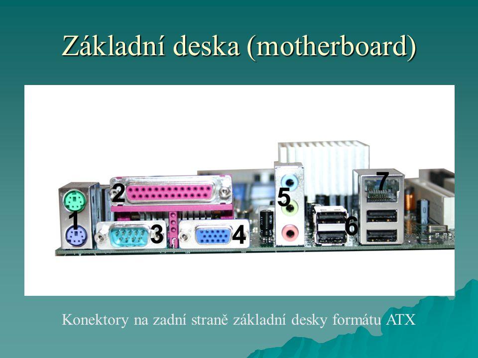 Základní deska (motherboard) Konektory na zadní straně základní desky formátu ATX