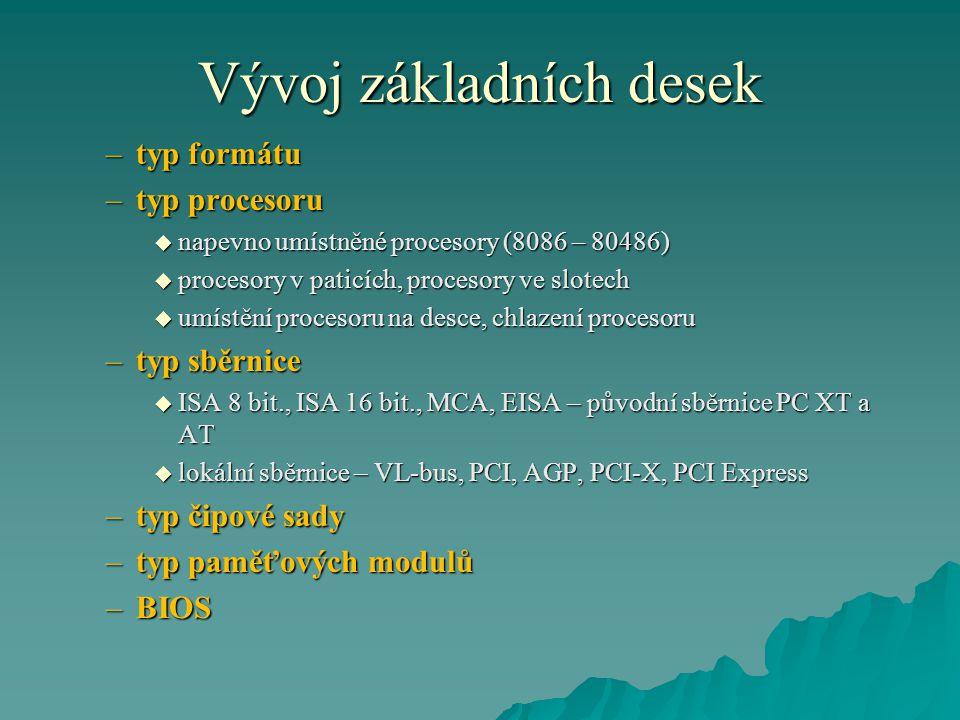Vývoj základních desek –typ formátu –typ procesoru  napevno umístněné procesory (8086 – 80486)  procesory v paticích, procesory ve slotech  umístění procesoru na desce, chlazení procesoru –typ sběrnice  ISA 8 bit., ISA 16 bit., MCA, EISA – původní sběrnice PC XT a AT  lokální sběrnice – VL-bus, PCI, AGP, PCI-X, PCI Express –typ čipové sady –typ paměťových modulů –BIOS