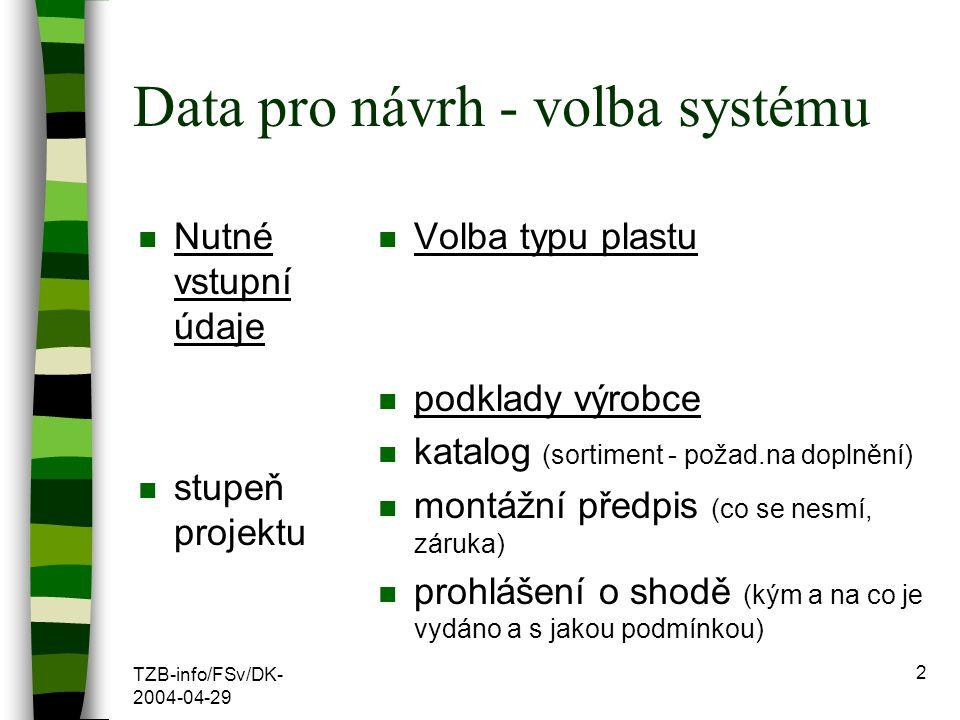 TZB-info/FSv/DK- 2004-04-29 2 Data pro návrh - volba systému n Nutné vstupní údaje n stupeň projektu n Volba typu plastu n podklady výrobce n katalog