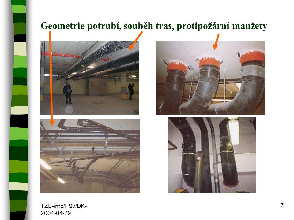 TZB-info/FSv/DK- 2004-04-29 7 Geometrie potrubí, souběh tras, protipožární manžety