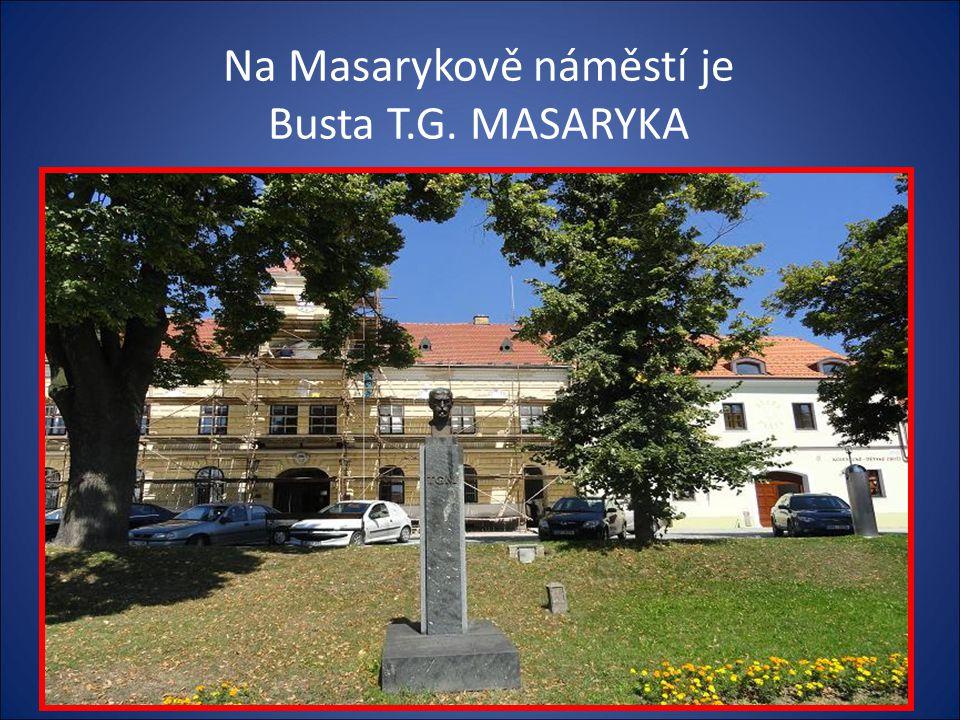Vstup na Masarykovo náměstí-na pravé straně jsou kašny,busta Masaryka, socha Jana Nepomuckého